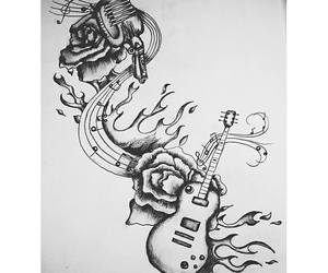 drawing, fire, and guitar image