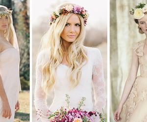 fashion, weddings, and floral crowns image
