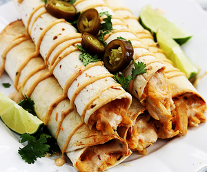 food and chicken taquitos image