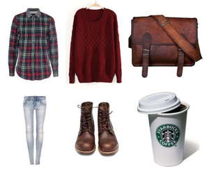 checked shirt, red sweater, and starbucks image