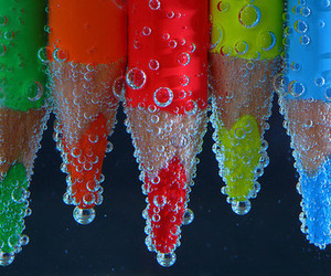 water, pencil, and bubbles image