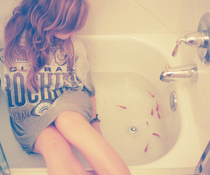 girl, fish, and bath image