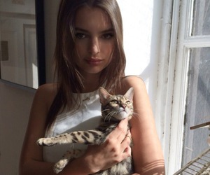girl, cat, and model image