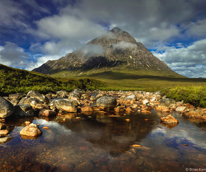 landscape, mountain, and reflection image