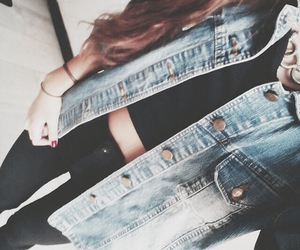denim jacket, pants, and crop-top image