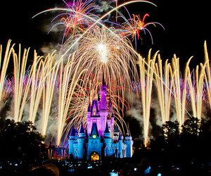 castle, disney, and firework image
