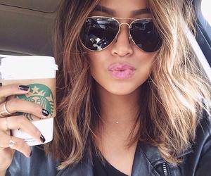 girl, starbucks, and hair image