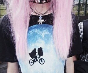 hair, pink hair, and pastel goth image