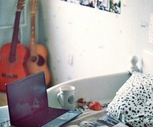guitar, room, and laptop image