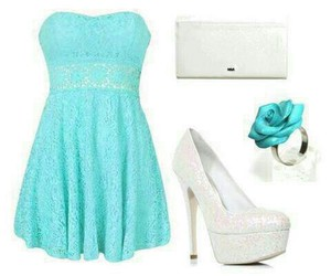 dress, shoes, and blue image