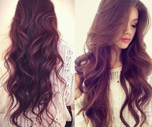 hair, brunette, and long hair image