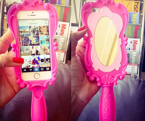 mirror, iphone, and pink image