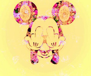 flowers, funny, and mickey mouse image