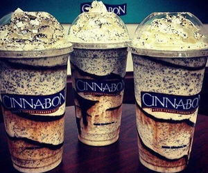 cinnabon, drink, and food image