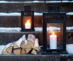 winter, candles, and snow image