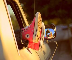 converse, pink, and car image