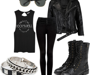 black, rock, and outfit image