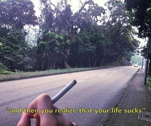 sucks, cigarette, and life image