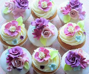 cupcake, flowers, and delicious image