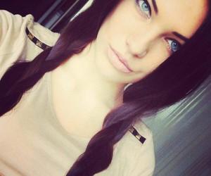 girl, black hair, and blue eyes image
