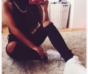 fashion, nike, and black image