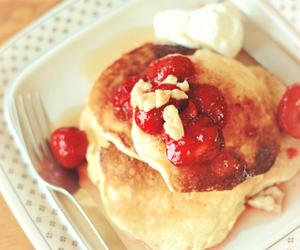 food, pancake, and strawberry image