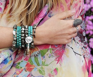 bracelet, rings, and blue image