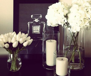 candle, flowers, and chanel image