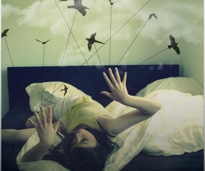 bird, girl, and bed image