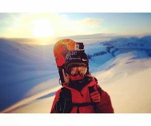 beautiful, girl, and snowboard image