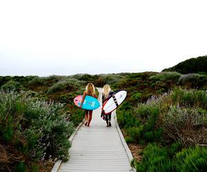 beach, girls, and surf image