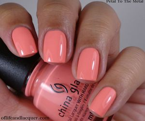 coral, manicure, and nails image