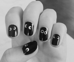 black and white, Halloween, and nails image