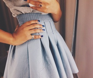 blue, blue skirt, and fashion image