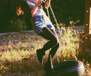 girl, swing, and fun image