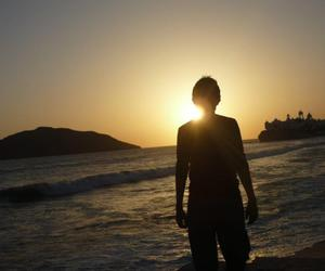 boy, silhouette, and sunset image