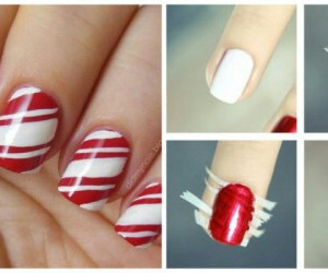 christmas, nails, and red and white image