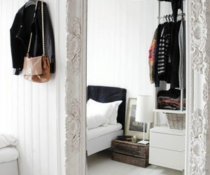 mirror, room, and white image