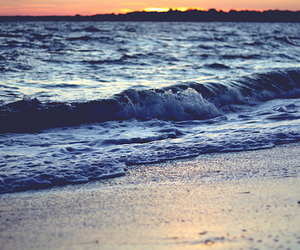 beach, ocean, and sunset image