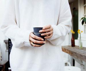 white, fashion, and coffee image