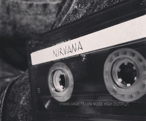 music, nirvana, and black and white image