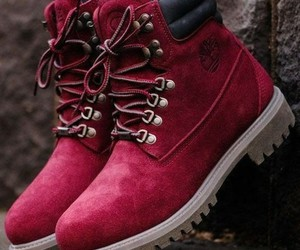 red, shoes, and timberland image
