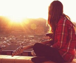 girl, guitar, and sun image