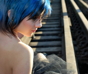 black hair, blue hair, and hair image