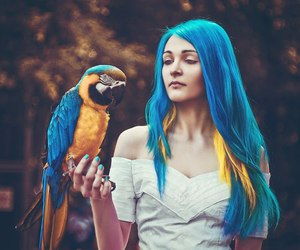 girl and parrot image