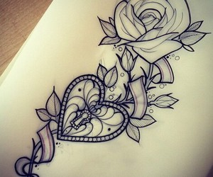 tattoo, heart, and rose image