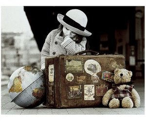 hat, little girl, and suitcase image