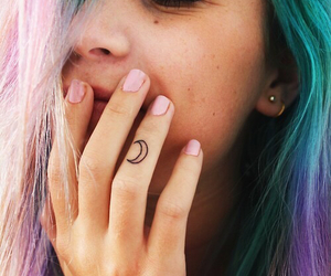 blue, colored hair, and hipster image