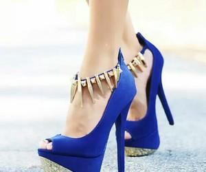 fashion, blue, and high heels image