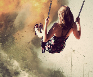 girl, swing, and fire image